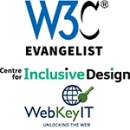 logo of W3c, Inclusive design and WebKeyIT