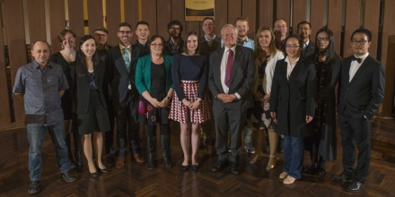 Vice-Chancellor Professor Brian Schmidt surrounded by award winners
