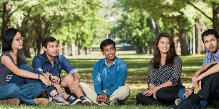 A group of ANU students sitting together