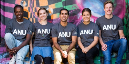 Five ANU students sitting together