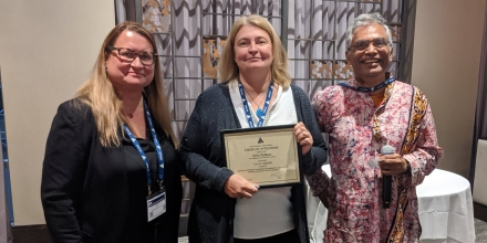 Sylvie Thiebaux with AAAI President, Yolanda Gil and AAAI Past President and Fellows Committee Chair, Subbarao Kambhampati