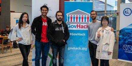 Septian Razi and his team at the 2019 GovHack