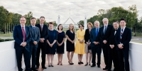 Rebecca Watts with fellow alumni and the Vice-Chancellor and Chancellor of ANU.