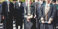 Mark Tyrell, Danny Rutten, Phil Tidd, Evan Turnbull, Edward Louis, Terry Cleary & Adam Hassan - ANU Engineering Graduation 1994