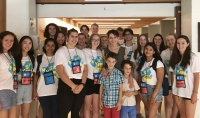 Dr Marta Yebra with students at the National Youth Science forum